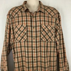 Pendleton Mens XXL Frontier Shirt Snap Front Long